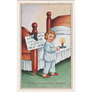 Whitney Little Boy with Sign and Candlestick Vintage Christmas Postcard