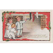 Whitney Three Children with Candlestick Stockings Vintage Christmas Postcard