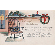 Whitney Candlesticks Windsor Chair Holly Wreath Vintage Christmas Postcard