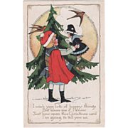 Whitney Little Girl with Doll Fur Tree Robins Vintage Christmas Postcard