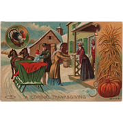 SOLD Family Arriving at Farm by Sleigh for Thanksgiving Vintage Thanksgiving Postcard