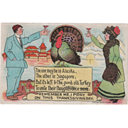 Stylish Man and Woman Toasting a Turkey Gobbler Vintage Thanksgiving Postcard