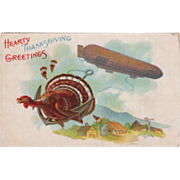 SOLD Dirigible with Turkey Gobbler on Its Anchor Vintage Thanksgiving Postcard