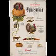 SOLD Turkey Gobbler in Pumpkin Thanksgiving Menu Vintage Thanksgiving Postcard
