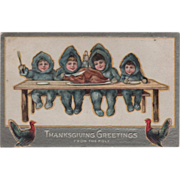 Children Celebrating Thanksgiving at the Pole Vintage Thanksgiving Postcard
