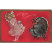 Little Girl In Pink Dress with Turkey Gobbler Vintage Thanksgiving Postcard
