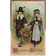 SOLD Pilgrim Man and Maid with Basket of Harvest Bounty Vintage Thanksgiving Postcard