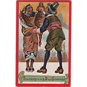 SOLD Native American and Pilgrim Sharing a Turkey Vintage Thanksgiving Postcard - Red Tag Sale