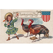 Little Girl with Turkey Gobbler Hen and Chick Vintage Thanksgiving Postcard