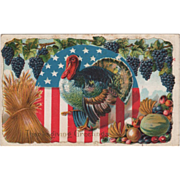 Wheat Grapes Turkey Gobbler More Harvest Bounty Vintage Thanksgiving Postcard