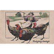Young Woman Tending Four Turkeys on a Roadway Vintage Thanksgiving Postcard