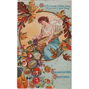 Young Woman with Cornucopia of Harvest Bounty Vintage Thanksgiving Postcard