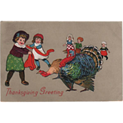 Group of Children Playing with Turkeys Vintage Thanksgiving Postcard