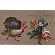 Group of Children Chased by Turkeys Vintage Thanksgiving Postcard