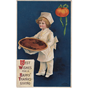SOLD Boy Chef Holding a Very Large Pumpkin Pie Vintage Thanksgiving Postcard