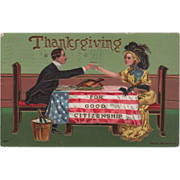 Couple Toasting Thanksgiving U S Flag on Table Vintage Thanksgiving Postcard