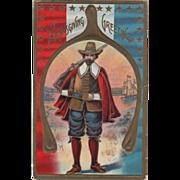 Pilgrim Hunter and Ship Framed in a Wishbone Vintage Thanksgiving Postcard