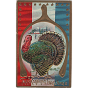 Very Large Turkey Gobbler Framed in a Wishbone Vintage Thanksgiving Postcard