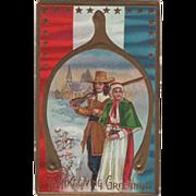 Pilgrim Couple Framed in a Wishbone Vintage Thanksgiving Postcard