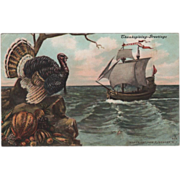 Turkey Gobbler Harvest Bounty Ship Mayflower Vintage Thanksgiving Postcard