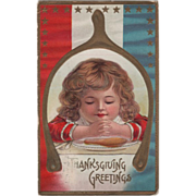 Child Praying Framed in a Wishbone Vintage Thanksgiving Postcard