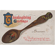 Souvenir Spoon with Turkey Gobbler in the Bowl Vintage Thanksgiving Postcard