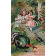 Older Girl at Wall with Little Girl Turkeys Vintage Thanksgiving Postcard