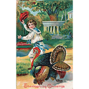 Young Boy Running with a Very Large Turkey Gobbler Vintage Thanksgiving Postcard