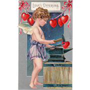 SOLD Cupid Pounding Out Red Hearts on an Anvil Vintage Valentine Postcard - Red Tag Sale Item