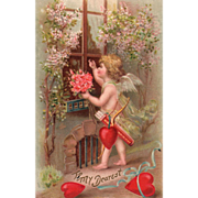 SOLD Cupid with Pink Roses Knocking on a Window Vintage Valentine Postcard - Red Tag Sale Item