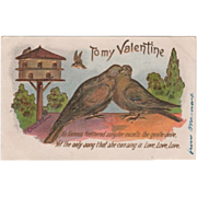 Two Doves on a Wall Large Birdhouse in Background Vintage Valentine Postcard
