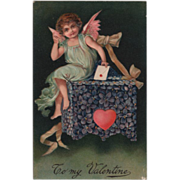 Cupid Mailing a Valentine in a Violet Covered Mailbox Vintage Valentine Postcard