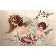 Young Woman Captured by Cupid Pink Roses Vintage Valentine Postcard
