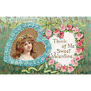 Hearts Pink Roses Blue Flowers with Young Woman Vintage Valentine Postcard