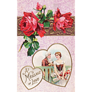 Red Roses Colonial Couple at a Board Fence Vintage Valentine Postcard