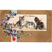 Four Kittens Bouquet of Violets Dangling Red Heart Vintage Valentine Postcard