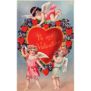 SOLD Three Cupids with Red Hearts Wreathed in Violets Vintage Valentine Postcard - Red Tag Sal
