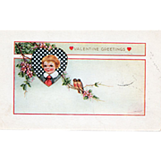 Whitney Boy Framed in Checkerboard Heart Two Robins Vintage Valentine Postcard