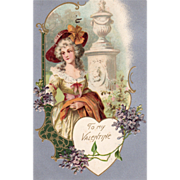 Colonial Woman Standing beside a Garden Column Vintage Valentine Postcard