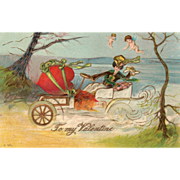 Woman Driving Early Auto with a Large Red Heart Vintage Valentine Postcard