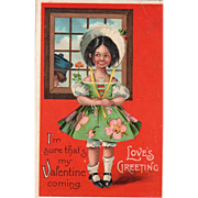 Girl Standing with Back to Window as Boy Passes Vintage Valentine Postcard