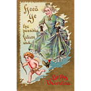 Cupid Being Chased by an Old Maid Vintage Valentine Postcard