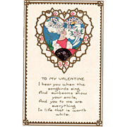 Whitney White Haired Woman Framed in Abstract Heart Vintage Valentine Postcard