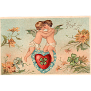 Cupids Kissing on a Red Heart with Blue Flowers Vintage Valentine Postcard