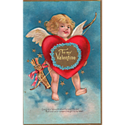 Cupid with Large Red and Gold Heart with Blue Flowers Vintage Valentine Postcard