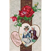Colonial Couple at a Bench Red and Yellow Roses Vintage Valentine Postcard