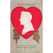 White Silhouette of a Man in Red Heart Two Cupids Vintage Valentine Postcard