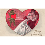 Young Woman in an Easy Chair Cupid with a Red Heart Vintage Valentine Postcard