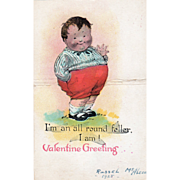 Die Cut Fat Boy Standing in the Grass Vintage Valentine Card