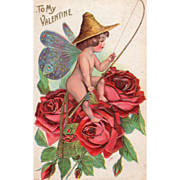 Fisherman with Butterfly Wings and Red Roses Vintage Valentine Card